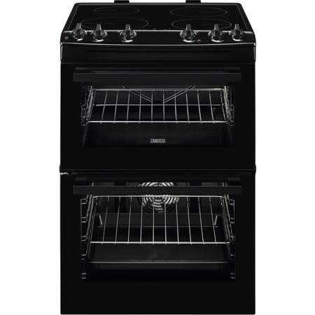 Zanussi ZCI66050BA 60cm Double Oven Electric Cooker With Induction Hob - Black