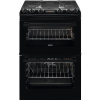 Zanussi ZCK66350BA 60cm Double Oven Dual Fuel Cooker With Minute Minder - Black