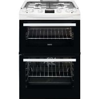 Zanussi ZCK66350WA 60cm Double Oven Dual Fuel Cooker With Minute Minder - White