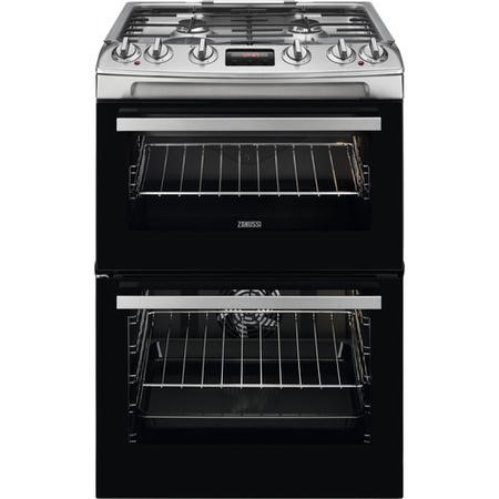 Zanussi ZCK66350XA 60cm Double Oven Dual Fuel Cooker With Minute Minder - Stainless Steel