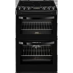 Zanussi ZCV46200BA 55cm Black Double Oven Electric Cooker With Ceramic Hob