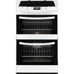 Zanussi ZCV46200WA 55cm White Double Oven Electric Cooker With Ceramic Hob