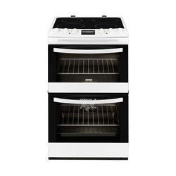 Zanussi ZCV48300WA White 55cm Double Oven Electric Cooker With Ceramic Hob