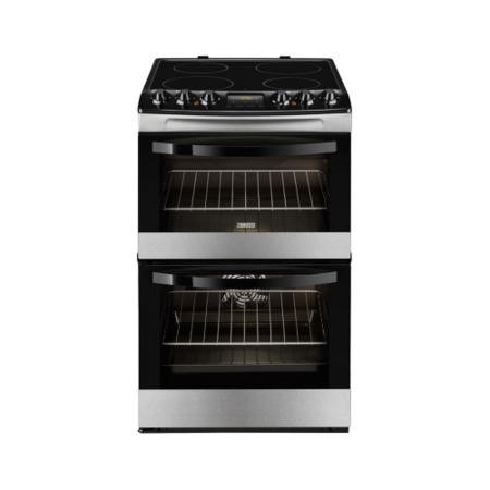 Zanussi ZCV48300XA Stainless Steel 55cm Double Oven Electric Cooker With Ceramic Hob