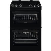 Zanussi ZCV66050BA 60cm Double Oven Electric Cooker With Ceramic Hob - Black Best Price, Cheapest Prices