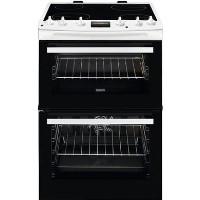 ZANUSSI ZCV66250WA 60cm Double Oven Electric Cooker with Ceramic Hob - White Best Price, Cheapest Prices