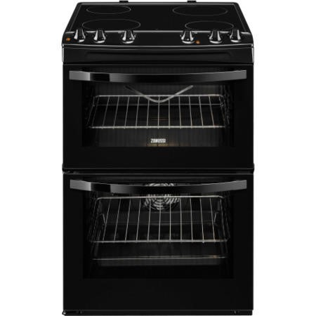 Zanussi ZCV68010BA Avanti 60cm Double Oven Electric Cooker With Ceramic Hob - Black