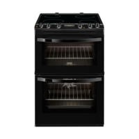 Zanussi ZCV68300BA Black 60cm Double Oven Electric Cooker With Ceramic Hob