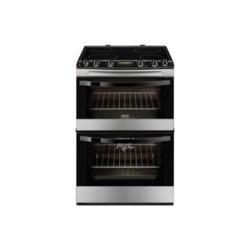 Zanussi ZCV68300XA Stainless Steel 60cm Double Oven Electric Cooker With Ceramic Hob