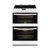 Zanussi ZCV68310WA White 60cm Double Oven Electric Cooker With Ceramic Hob