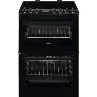 Zanussi ZCV69350BA 60cm Double Oven Electric Cooker With Ceramic Hob - Black Best Price, Cheapest Prices