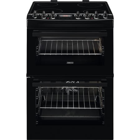 Zanussi ZCV69350BA 60cm Double Oven Electric Cooker With Ceramic Hob - Black