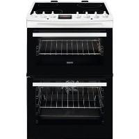Zanussi ZCV69350WA 60cm Double Oven Electric Cooker With Ceramic Hob - White Best Price, Cheapest Prices