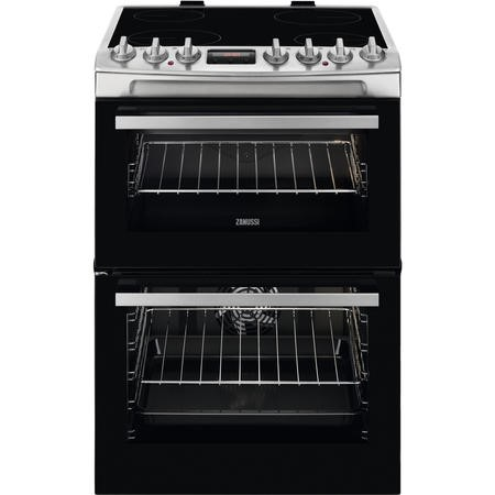 Zanussi ZCV69350XA 60cm Double Oven Electric Cooker With Ceramic Hob - Stainless Steel