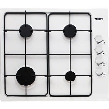 Zanussi ZGG62414WA 58cm Wide Four Burner Gas Hob In White