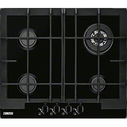 Zanussi ZGG66424BA 60cm Wide Four Burner Gas Hob In Black