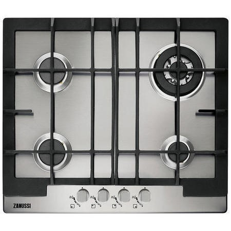 Zanussi ZGG66424XA 60cm Wide Four Burner Gas Hob in Stainless Steel