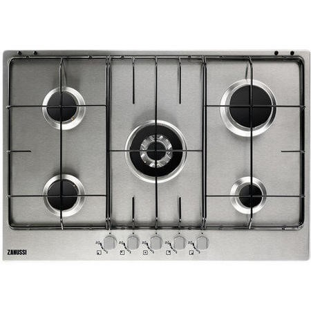 zanussi zgg75524sa 74cm five burner gas hob stainless. Black Bedroom Furniture Sets. Home Design Ideas