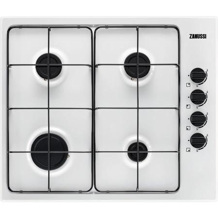 Zanussi ZGH62414WA 60cm Side Control Four Burner Gas Hob With Cast Iron Pan Stands - White