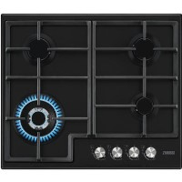 Zanussi ZGH66424BB 60cm Four Burner Gas Hob With Cast Iron Pan Stands - Black