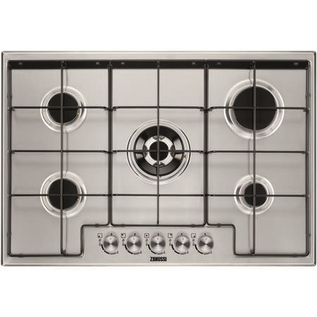 Zanussi ZGH75524XX 75cm Five Burner Gas Hob With Enamel Pan Stands - Stainless Steel