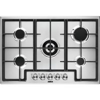 Zanussi ZGH76524XX 75cm Five Burner Gas Hob With Cast Iron Pan Stands - Stainless Steel