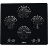 Zanussi ZGX65414BA 59cm Four Burner Gas-on-glass Hob Black