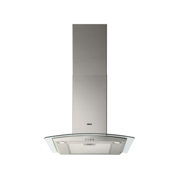 Zanussi ZHC6234X Curved Glass Canopy 60cm Chimney Cooker Hood ...