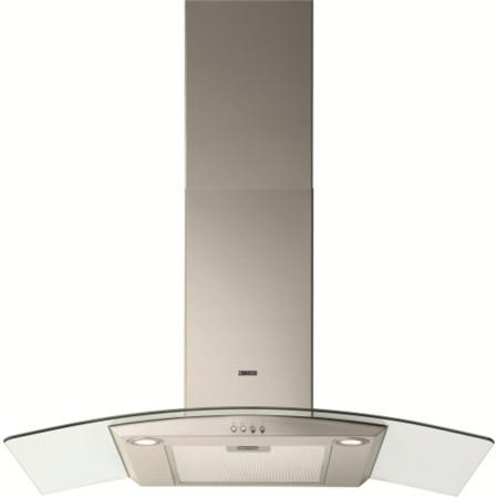 Zanussi ZHC9234X Curved Glass Canopy 90cm Chimney Cooker Hood Stainless Steel
