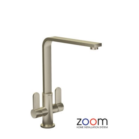 Zoom ZP1026 Vito Twin Lever Monobloc Brushed Nickel Tap