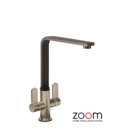Zoom ZP1028 Vito Twin Lever Monobloc Brushed Black