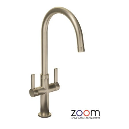 Zoom ZP1068 Linear Style Twin Lever Monobloc Brushed Nickel Tap