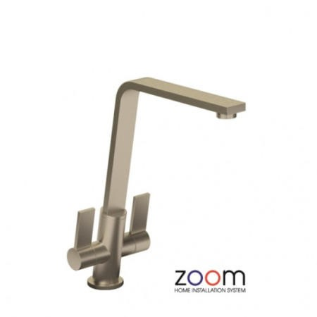 Zoom ZP1070 Linear Flair Twin Lever Monobloc Brushed Nickel Tap