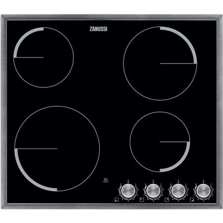 Zanussi ZV694MK 60cm Four Zone Ceramic Hob Black With Stainless Steel Frame