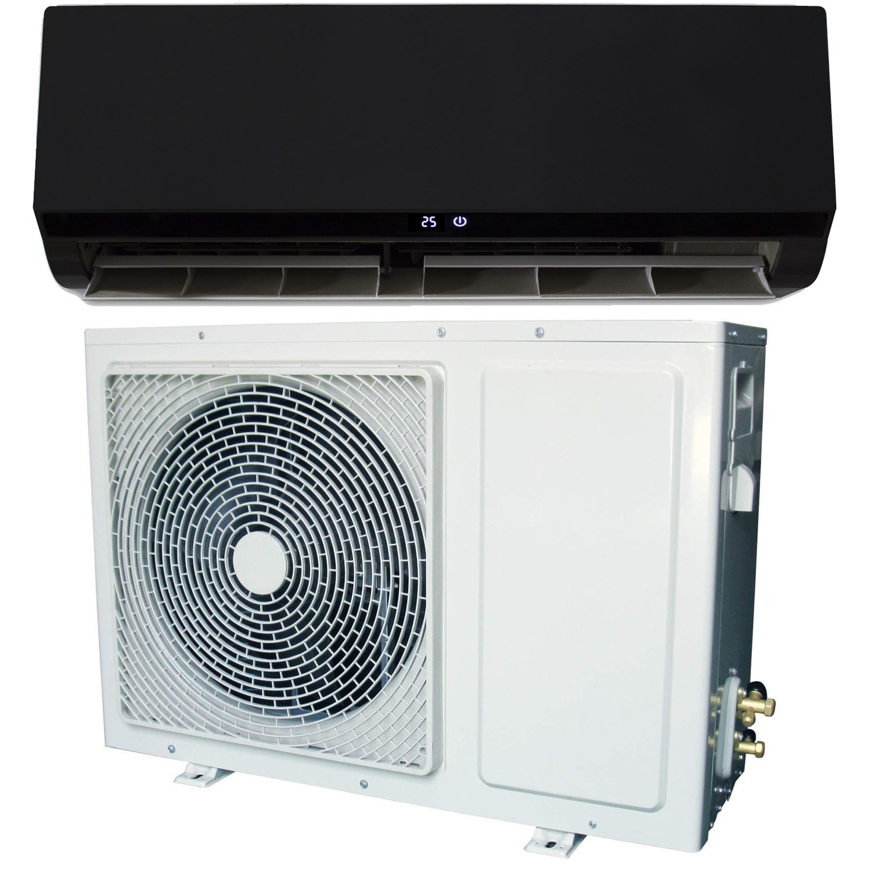 18000 BTU Black Hitachi Powered Smart Wall Mounted Split Inverter Air  Conditioner with a Heat Pump