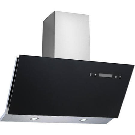 electriQ 90cm Angled Black Glass Touch Control Cooker Hood Includes Optional Chimney  -  5 Year Warranty