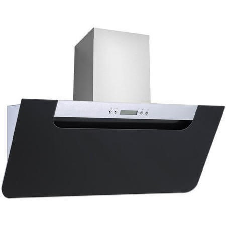 electriQ Sloping 60cm Black Glass & Stainless Steel Cooker Hood Includes Optional Chimney