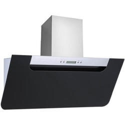 electriQ Sloping Black Glass and Steel 90cm Includes Optional Chimney -  5 Year Warranty