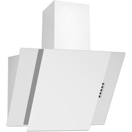 electriQ White Glass Angled 60cm Cooker Hood Includes Optional Chimney  -  5 Year Warranty