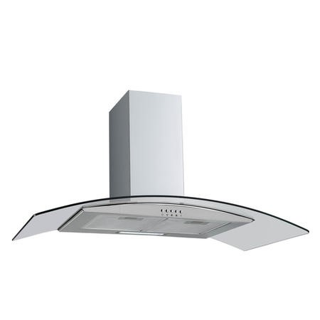 electriQ 80cm Curved Glass Stainless Steel Chimney Cooker Hood - 5 Year Warranty