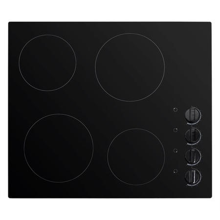electriQ 60cm 4 Zone Glass Ceramic Hob With Knob Control  - Black