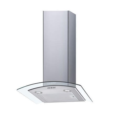 electriQ 70cm Curved Glass Chimney Cooker Hood in Stainless Steel  - 5 Years Warranty