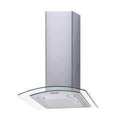 electriQ 70cm Curved Glass Chimney Cooker Hood in Stainless Steel  - Now with 5 Years Warranty