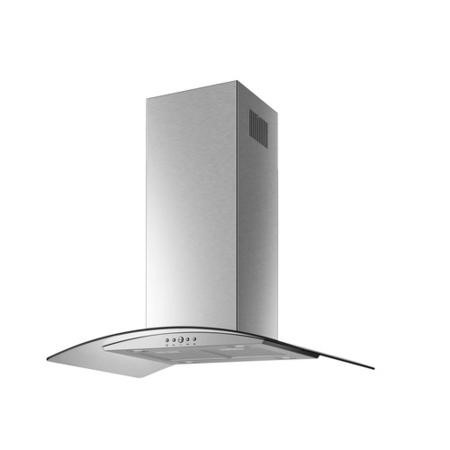 electriQ 90cm Curved Glass Island Cooker Hood Stainless Steel - 5 Year Warranty