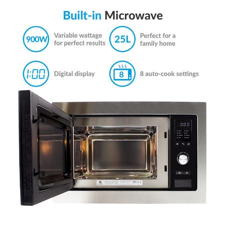 electriQ Stainless Steel 25L Built-in Standard Microwave