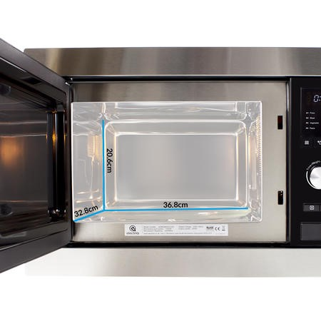 GRADE A1 - electriQ Stainless Steel 25L Built-in 900W Microwave Oven With Grill