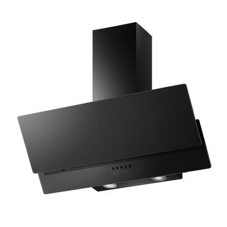 electriQ 90cm Sloping Black Glass Chimney Cooker Hood - 5 Year Warranty