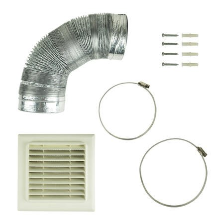 Universal 120 - 125mm x 3m Kitchen Cooker Hood Extractor Fan Vent Ducting Kit with Flat Vent