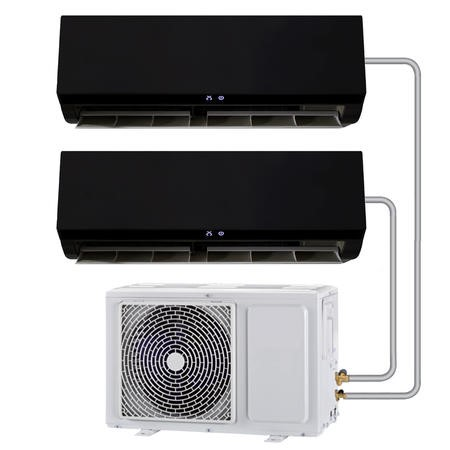 Multi-split 24000 BTU Black Inverter Air Conditioner with single outdoor unit and two 12000 BTU indoor units