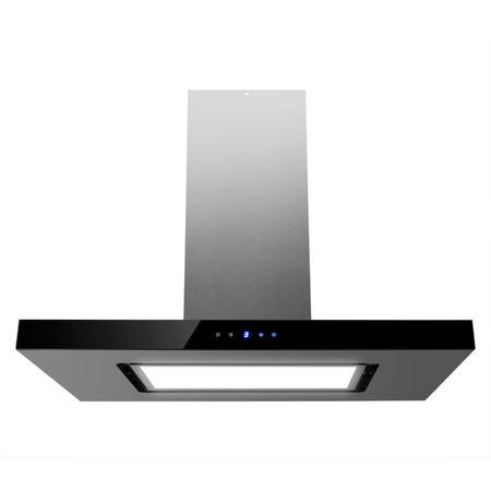 electriQ 90cm Island Cooker Hood LED Panel With Glass - Black